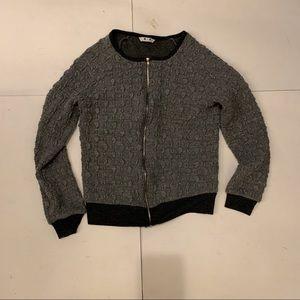 Zip Up Three Dot Sweater